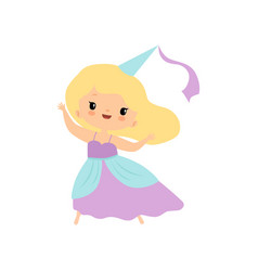 cute blonde little fairytale princess girl cartoon vector image