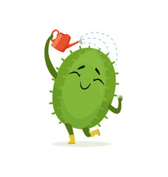 Cute cactus watering itself from red watering can vector