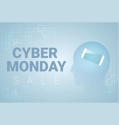 cyber monday banner with silhouette head and vector image