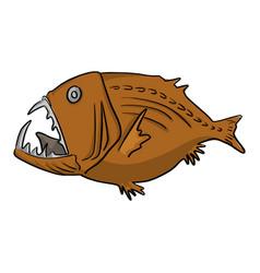 deep sea fish sketch doodle vector image