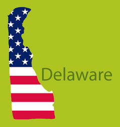 Delaware state of america with map flag print vector