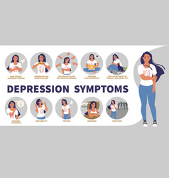 Depression signs symptoms infographic vector