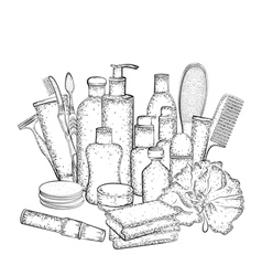 Detailed sketch of elements for bath or shower vector