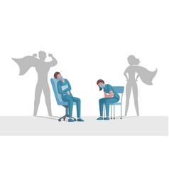 Doctor and nurse with superhero shadows rest vector