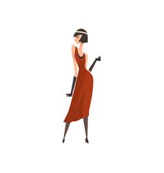 Elegant woman in red retro dress beautiful vector