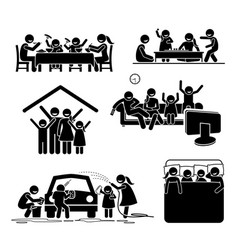family activities time at home stick figures vector image