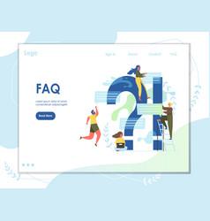 faq website landing page design template vector image