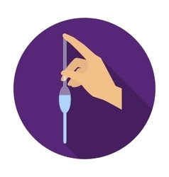 Filling of a bulb pipette by water icon in flat vector