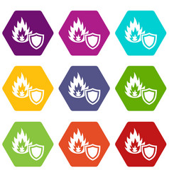 fire protection icons set 9 vector image