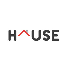 flat design concept of house word with red house vector image
