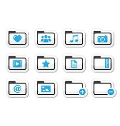 Folder documents music film icons set vector image