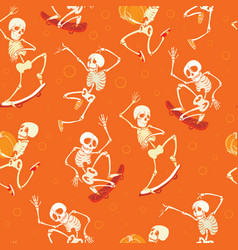 Fun orange dancing and skateboarding vector