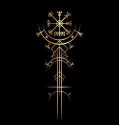 Golden ancient vegvisir magic navigation compass vector