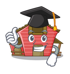 Graduation a red barn house character cartoon vector