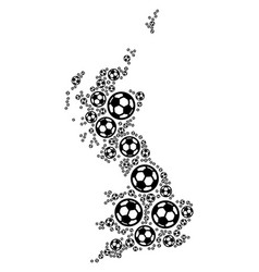 Great britain map collage of football balls vector