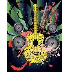 Grunge guitar and loudspeakers4 vector