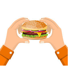 hamburger holding in hand eating fast food vector image