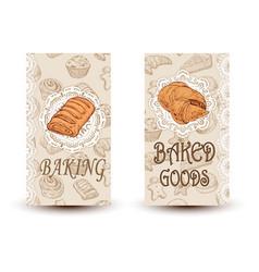 Hand drawn sketch bread posters set eco vector