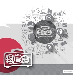 Hand drawn tape recorder icons with icons vector image