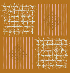 Hand painted grids striped squares and diamonds vector