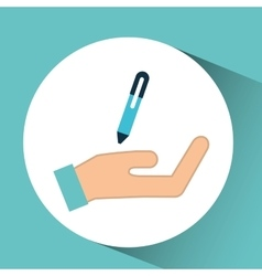 Hand pen writing financial icon vector