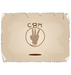Hand sign with crm or customer relationship manage vector