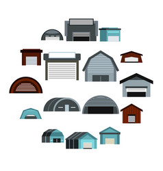 Hangar icons set flat style vector