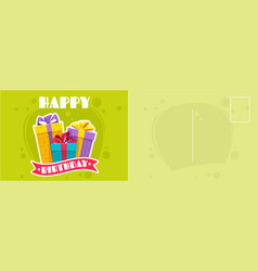 Happy birthday postcard holiday card with flat vector