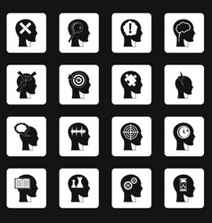 head logos icons set squares vector image