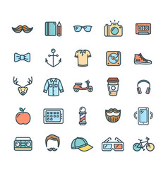 hipster icon color thin line set vector image