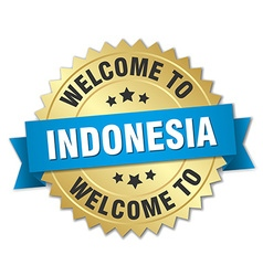 Indonesia 3d gold badge with blue ribbon vector