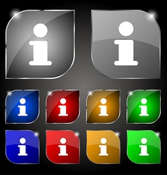 Information Info icon sign Set of ten colorful vector image