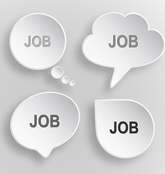 Job White flat buttons on gray background vector image