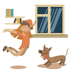 jumping with excitement little girl and dog vector image