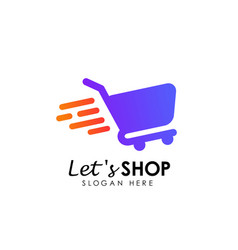 Lets shopping logo design template shop icon vector