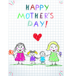 Lgbt family happy mothers day women with kids vector