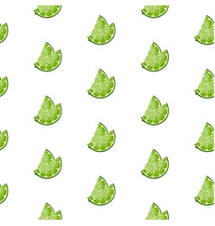 lime slices seamless pattern on white background vector image