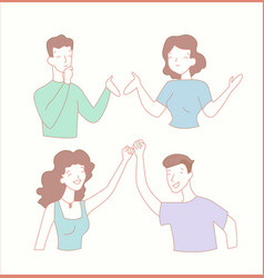 Man and woman make peace flat line style vector