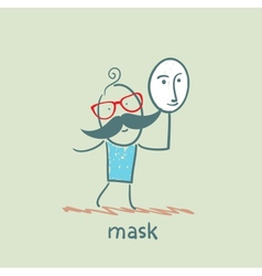man holding a mask vector image