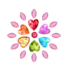 Marquise heart cut gems vector