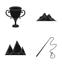 Mongolia travel and or web icon in black style vector