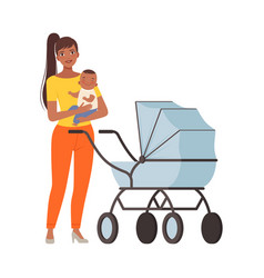 Mum and bawith pram character vector