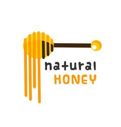 natural honey honey dipper white background vector image