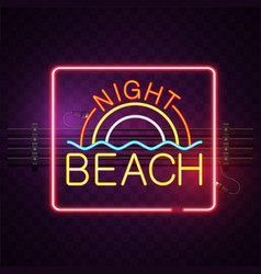 Night beach neon square frame purple background ve vector