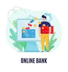 Online bank background concept vector