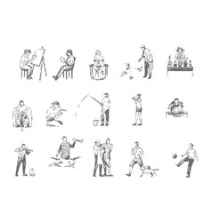 People hobbies activities concept sketch vector