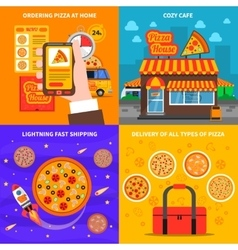 Pizza concept set vector