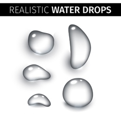 Pure clear water drops realistic set isolated vector image