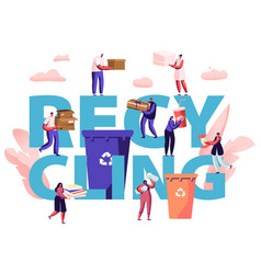 recycling concept people throw garbage into vector image