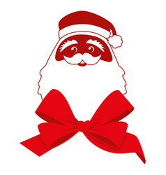 Red bow and contour face of santa claus vector